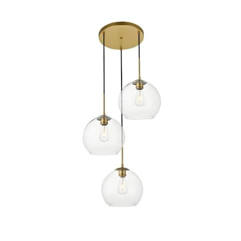 3-Light 20 inch Pendant with Clear Glass