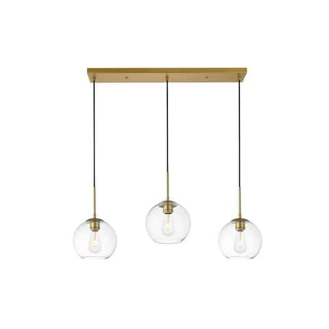 3-Light 36 inch Pendant with Clear Glass