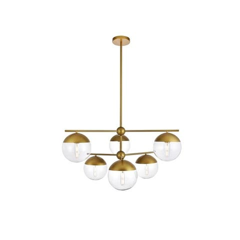 6-Light 36 inch Pendant with Clear Glass