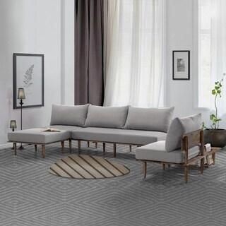 Handy Living Fundamentals 5 Piece Dove Grey Linen Living Room Set