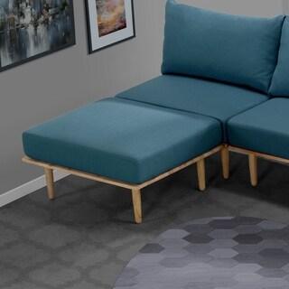 Handy Living Fundamentals Blue Linen Ottoman