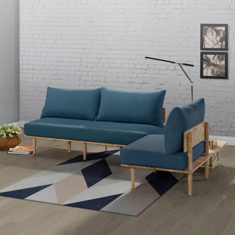 Handy Living Fundamentals 3 Piece Blue Linen Living Room Set
