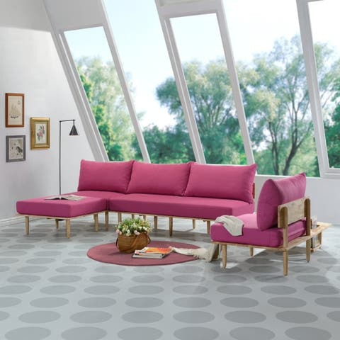 Handy Living Fundamentals 5 Piece Fuschia Pink Linen Living Room Set