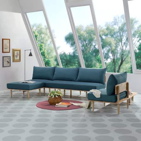 Handy Living Fundamentals 5 Piece Blue Linen Living Room Set