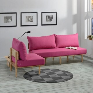 Handy Living Fundamentals 3 Piece Fuchsia Pink Linen Living Room Set