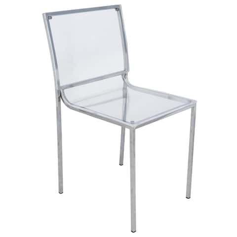LeisureMod Almeda Lucite Acrylic Clear Dining Side Chair (Set of 4)