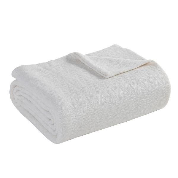 Hamilton Hall Bianca Chevron Cotton Blanket