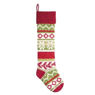 Red Snowflake Knit Christmas Stocking