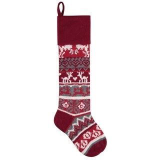 Red Winter Reindeer Knit Christmas Stocking