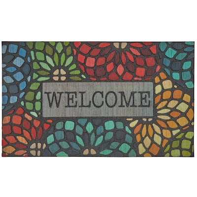 """Mohawk Doorscapes Welcome Stained Glass Door Mat (1'6 x 2'6) - 1'6"""" x 2'6"""""""