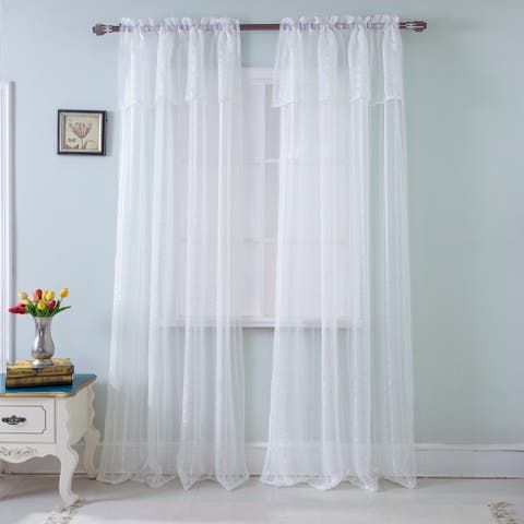 RT Designers Collection Gretchen Striped 90 in. Sheer Rod Pocket Single Curtain Panel - 54 x 90 in.