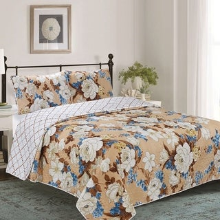 Florence 3 Piece Reversible Floral Quilt Set - Taupe