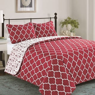 Elisa & Florence 3 Piece Reversible Geometric Quilt Set