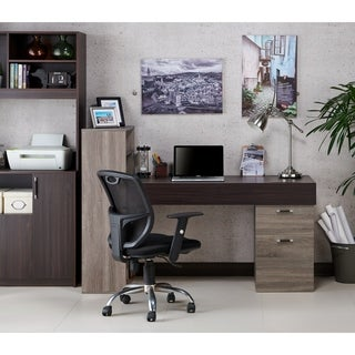 Furniture of America Mello 2-piece Contemporary Chestnut Brown Wood Finish Writing Desk and Shelf Set