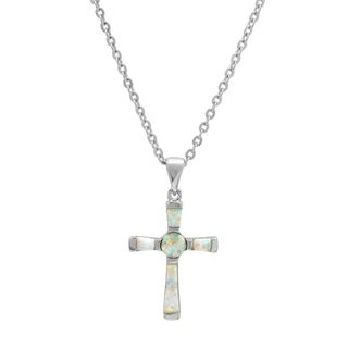 Piatella Ladies Brass Genuine Opal Cross Necklace in 2 Colors
