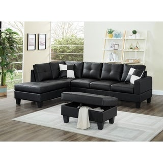3 Piece Faux Leather Left-Facing Sectional Sofa Set with Free Storage Ottoman