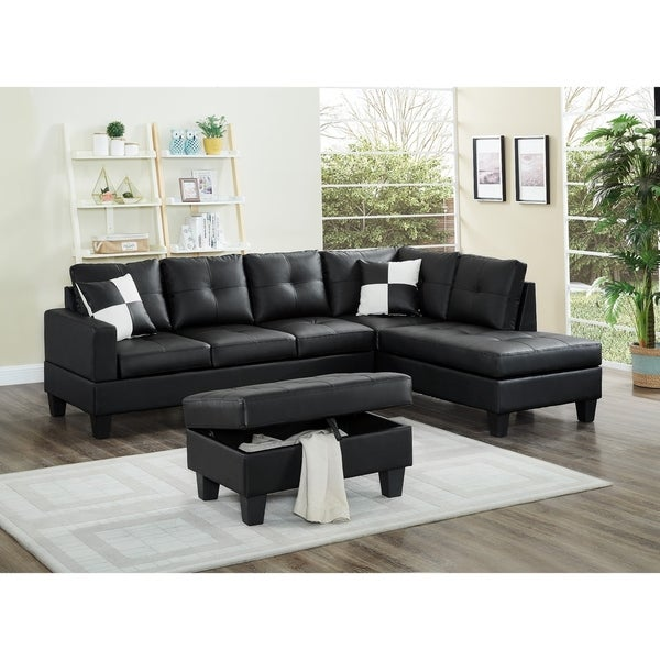 3 Piece Faux Leather Right Facing Sectional Sofa Set With Free Storage Ottoman