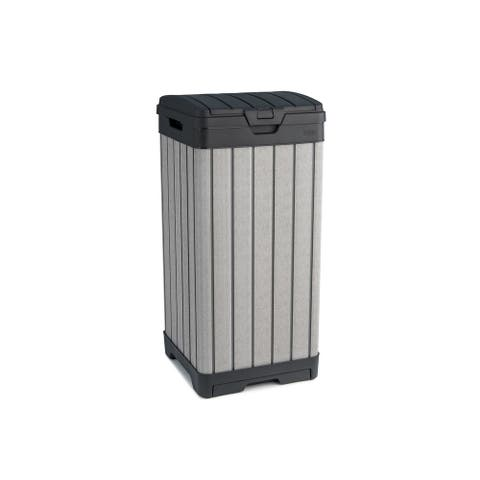Keter Rockford DUOTECH 39 Gallon Plastic Resin Outdoor Trash Can