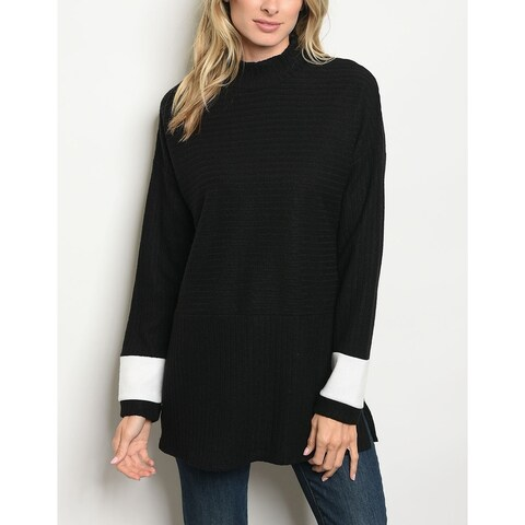 JED Women's Mock Neck Relax Fit Tunic Sweater