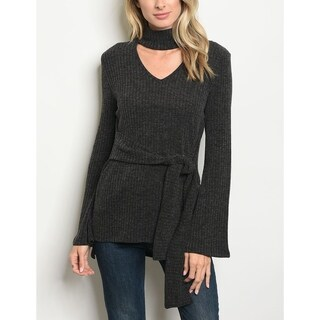 JED Women's Choker Bell Sleeve Ribbed Sweater Top