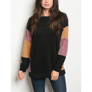 JED Women's Loose Fit Colorblock Pullover Sweater