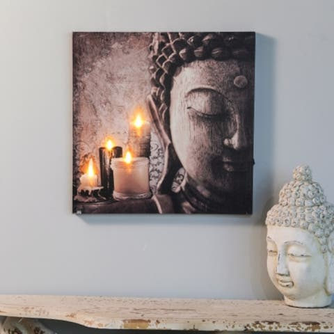 Zen Buddha and Candles Canvas Print with LED Lights