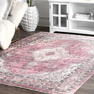 nuLOOM Pink Classical Persian Katia Ornamental Cameo Framing Garden Border Area Rug