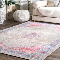 nuLOOM Grey Transitional Classical Medallion Fading Folktime Border Area Rug