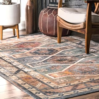 "nuLOOM Blue Southwestern Persian Chay Aztec Cameo Framing Geo Border Runner Area Rug - 2'8"" x 8'"