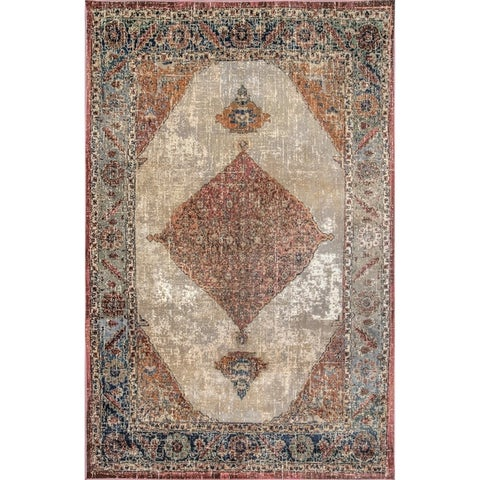 nuLOOM Contemporary Persian Chay Aztec Cameo Framing Geo Border Area Rug
