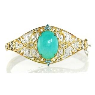 Michael Valitutti Palladium Silver Amazonite & Swiss Blue Topaz Bracelet