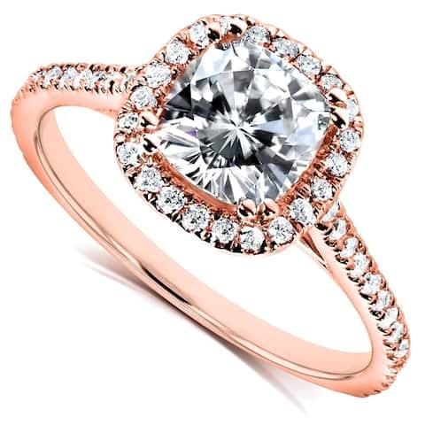 Annello by Kobelli 14k Gold 1-1/3ct TGW Moissanite and Lab Grown Diamond Halo Engagement Ring (HI/VS, DEF/VS)
