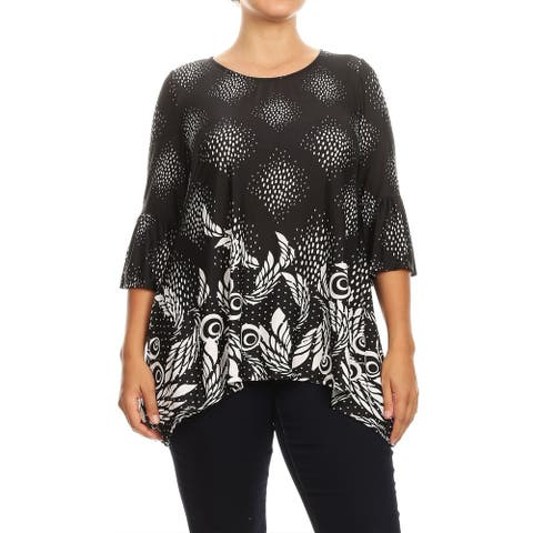 Women's Plus Size Casual Loose Fit Ruffled Sleeve Top