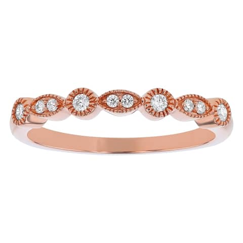 14K Rose Gold 1/10ct TDW Diamond Art Deco Band Ring by Beverly Hills Charm - White H-I