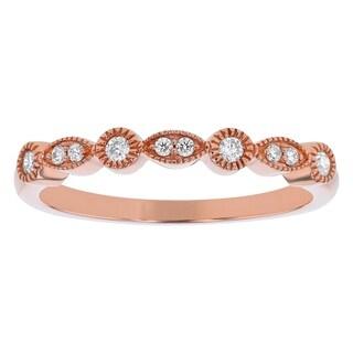 14K Rose Gold 1/10ct TDW Diamond Art Deco Band Ring by Beverly Hills Charm - White H-I - White H-I