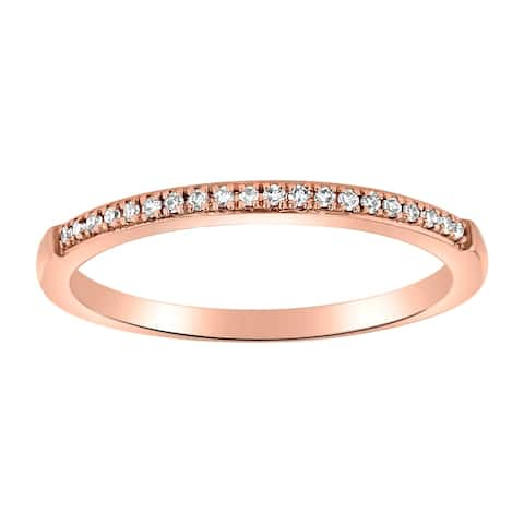 14K Rose Gold 1/14ct TDW Diamond Classic Anniversary Band Ring by Beverly Hills Charm - White H-I