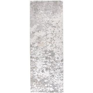 """Grand Bazaar Orin Silver/Gray Modern Abstract Contemporary Area Rug - 2'10"""" x 7'10"""""""