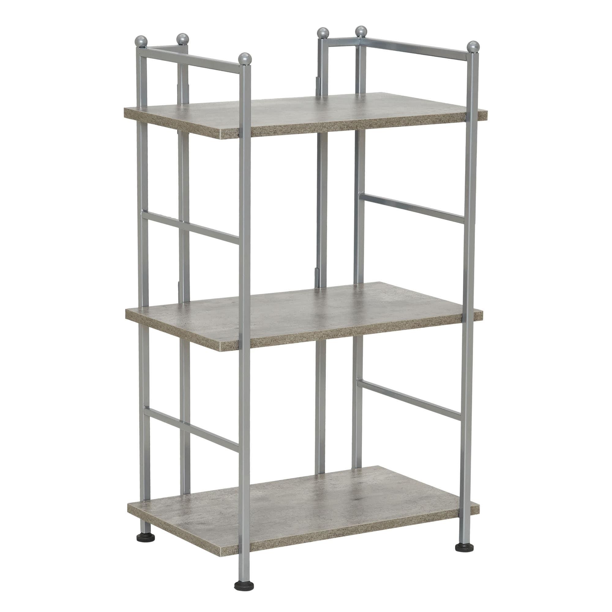 Household Essentials Narrow 3-Shelf Rack, Concrete