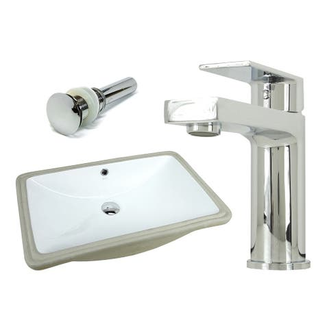 24 Inch Rectangle Undermount Vitreous Glazed Ceramic Sink with Polished Chrome bathroom faucet / Pop-up Drain Combo