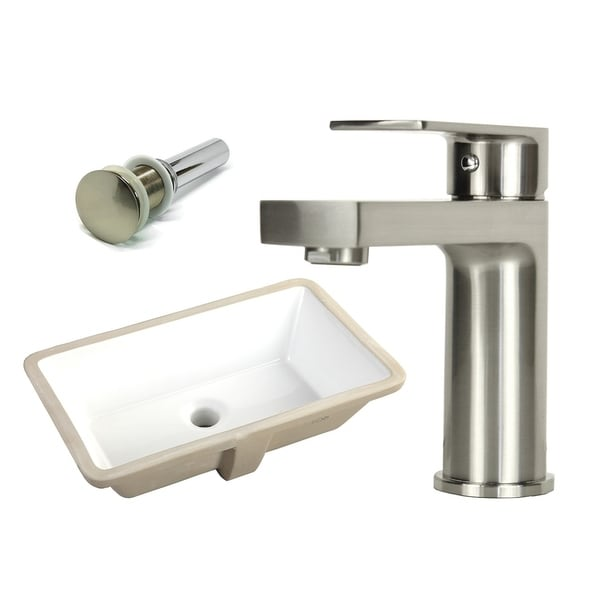 Shop 20 7 8 inch rectangle undermount vitreous glazed - 8 inch brushed nickel bathroom faucet ...