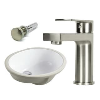 19-1/2 Inch Oval Undermount Vitreous Glazed Ceramic Sink with Brushed Nickel bathroom faucet  / Pop-up Drain Combo