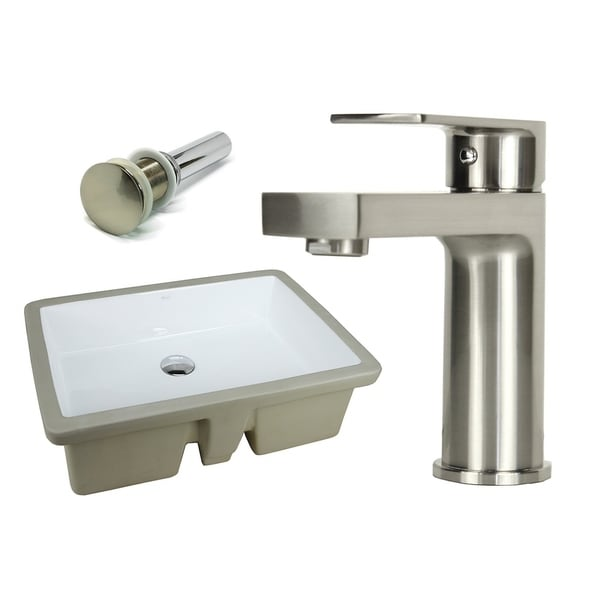 Shop 22 1 8 inch rectangle undermount vitreous glazed - 8 inch brushed nickel bathroom faucet ...