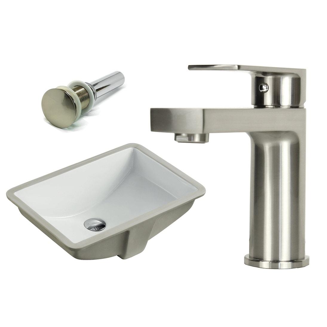 Sink /& Brushed Nickel Popup-Drain Combo Rectangle Ceramic Bathroom Vessel Faucet