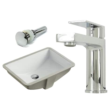 20-7/8 Inch Rectangle Undermount Vitreous Glazed Ceramic Sink with Polished Chrome bathroom faucet / Pop-up Drain Combo