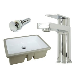 22-1/8 Inch Rectangle Undermount Vitreous Glazed Ceramic Sink with Polished Chrome bathroom faucet / Pop-up Drain Combo