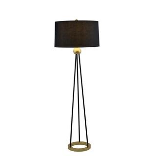 Villo Black/Goldtone Metal 72-inch Modern Floor Lamp with Black Fabric Shade