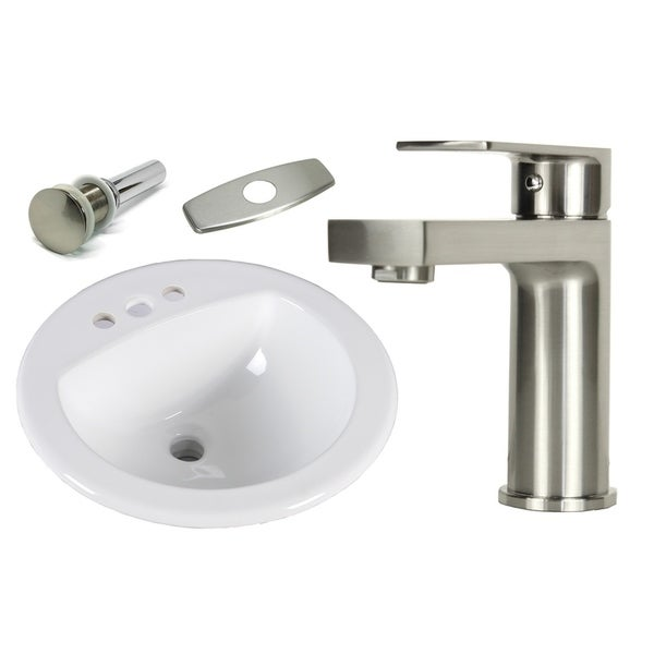 19 Inch Round Topmount Drop In Ceramic Sink Brushed Nickel Bathroom Faucet Combo