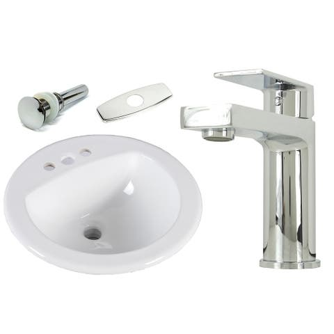 19 Inch Round Topmount / Drop in Ceramic Sink & Polish Chrome Bathroom Faucet Combo