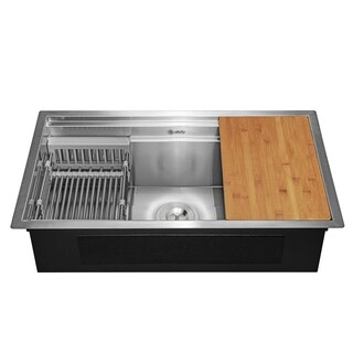 "AKDY 32"" x 18"" x 9"" Undermount Stainless Steel Single Bowl Kitchen Sink - Silver"