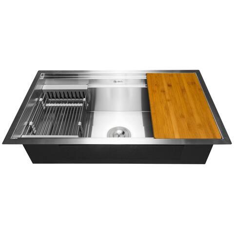 "AKDY 33"" x 22"" x 9"" Undermount Stainless Steel Single Bowl Kitchen Sink - Silver"